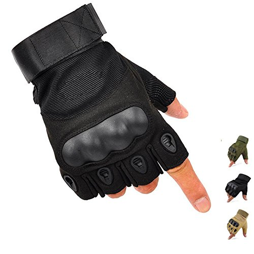 K-mover Airsoft Glove 1 K-mover Outdoors Camping Half Finger Gloves Tactical Fingerless Tactical Gloves Durable Hard Knuckle Cycling Motorcycle Gloves for Shooting Hunting Motorcycling Climbing