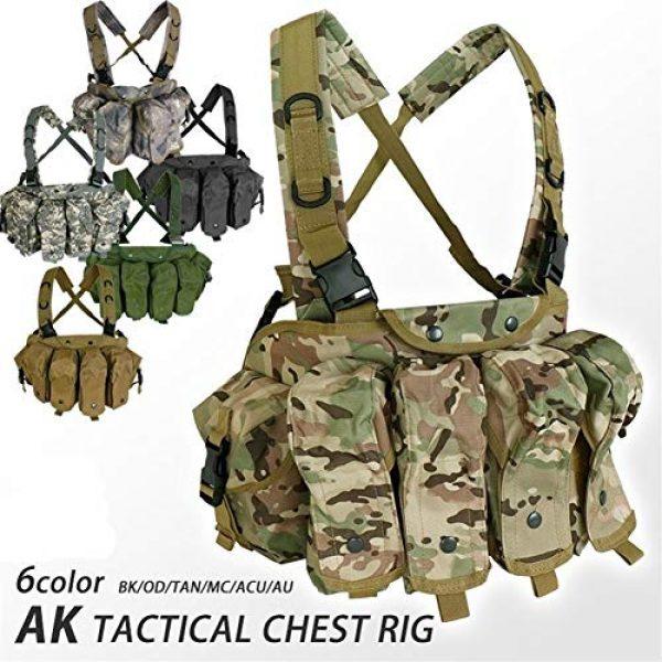 Vioaplem Airsoft Tactical Vest 2 Vioaplem CQC AK Chest Rig Molle Tactical Vest Military Army Equipment AK 47 Magazine Pouch Outdoor Airsoft Paintball Hunting Vest (Color : MC)