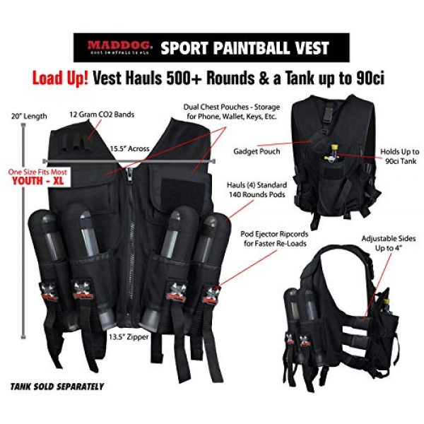 Maddog Airsoft Tactical Vest 2 Maddog Lightweight Tactical Paintball Sport Vest | Holds 4 Pods & Tank Up to 90ci