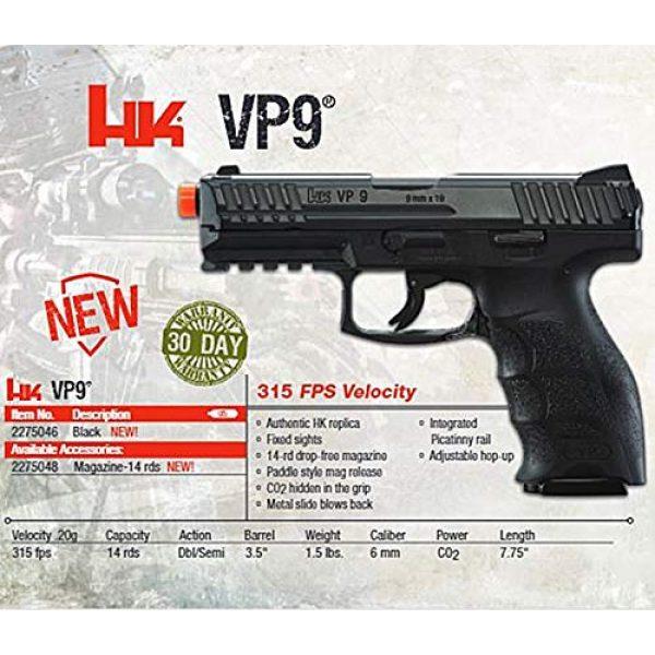 "Umarex USA Airsoft Pistol 6 Umarex USA, H&K VP9, 6mm, 3 1/2"" Smooth Barrel, 14 Rounds, Black"