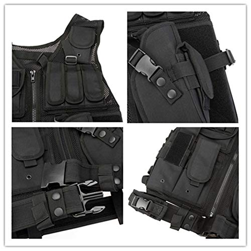YoMont  3 YoMont Tactical Vest Outdoor Molle Vest Military for Man Women Youth Trainning Tactical Airsoft Combat Vest 600D Encryption Polyester-Military Vest-Adjustable Lightweight