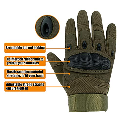 IronSeals Airsoft Glove 2 IronSeals Gloves Rubber Hard Knuckle Outdoor Gloves Full Finger and Half Finger Cycling Motorcycle Gloves