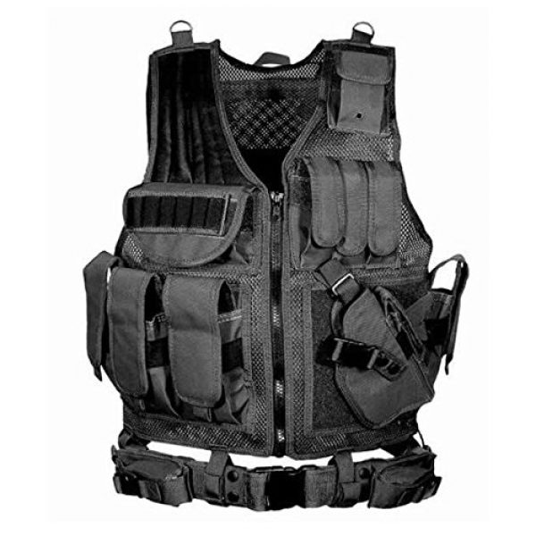 THSKSM Airsoft Tactical Vest 1 THSKSM Tactical Vest Airsoft Paintball Breathable Combat Training Vest for Outdoor Hunting, Fishing, CS War Game,Outdoor Equipment/Adjustable Sizes/Men/Women/600D Assault Gear