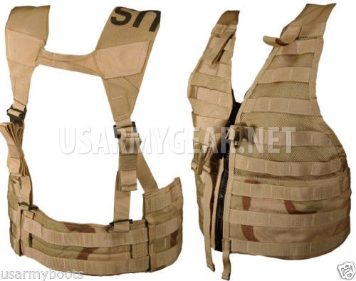 Specialty Defense Systems / Michael Bianco Airsoft Tactical Vest 6 New Made in USA Army Military MOLLE II Camouflage Desert Tan Airsoft MOLLE II Fighting Loaded Carrier Vest FLC LBV with 4 Double Pouch and 2 K-Bar Adapter Issued by the U.S. Government GI