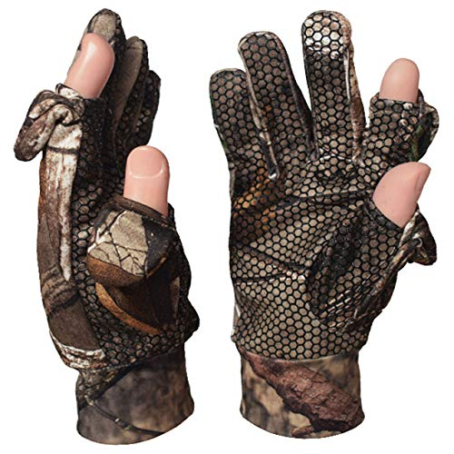 SHAWINGO Airsoft Glove 3 SHAWINGO Camouflage Hunting Gloves Cut Finger Camo Gloves for Archery Fishing Shooting