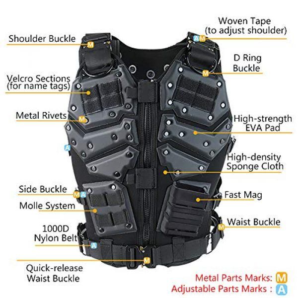iactionunion Airsoft Tactical Vest 3 Upgrade Tactical Vest for Men with 2pcs 5.56 Fast Mag Pouch Adjustable Airsoft Paintball Vest Combat Vest Tactical Molle Vest CS Shooting Wargame Outdoor Training