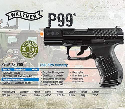 Umarex Airsoft Pistol 2 Walther P99 Blowback 6mm BB Pistol Airsoft Gun, Walther P99 Airsoft Gun