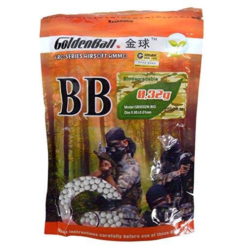 GoldenBall Airsoft BB 1 GoldenBall 0. 32g Biodegradable BioTac Seamless Airsoft BBS 3100rd Bag