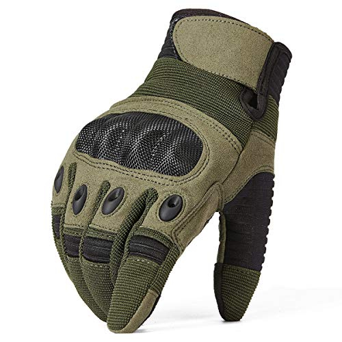 ReFire Gear Airsoft Glove 2 ReFire Gear Military Tactical Gloves Full Finger Rubber Hard Knuckle Army Gloves for Airsoft Paintball Shooting Motorcycle Cycling Hunting