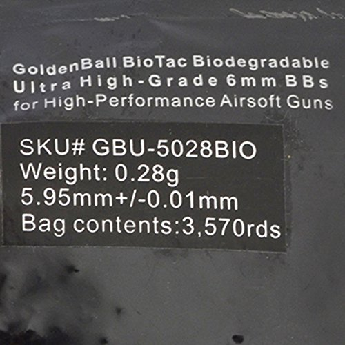 GoldenBall Airsoft BB 2 GoldenBall 0.28g Biodegradable Series Professional Sport Airsoft 6mm JDM Spec Japanese Domestic Market Grade Performance BBS - White - 3575rd Bag