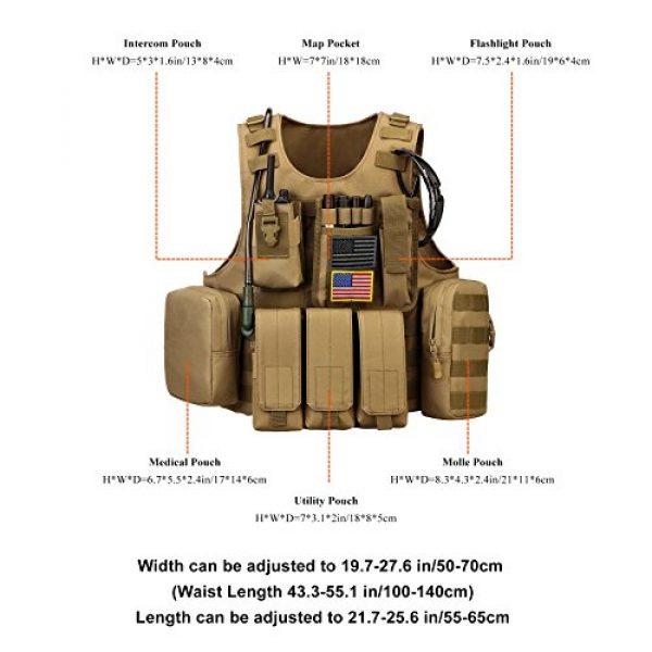 ArcEnCiel Airsoft Tactical Vest 6 ArcEnCiel Tactical Molle Vest, Coyote Brown