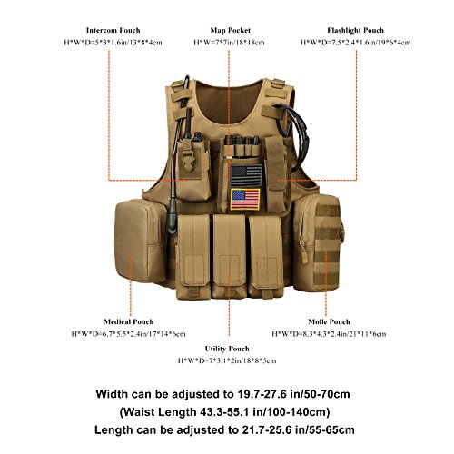 ArcEnCiel Airsoft Tactical Vest 6 ArcEnCiel Tactical Molle Vest, Coyote Brown