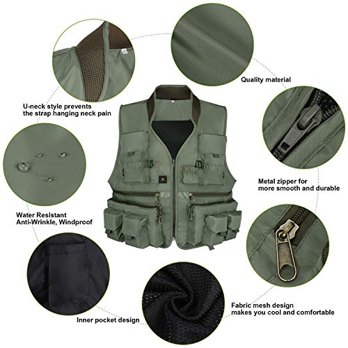Anglerbasics Airsoft Tactical Vest 4 Anglerbasics Army Green Multifunction Airsoft Tactical Vest Quick Dry Multi Pockets Mesh Breathable Active Military wear Jacket- Fits for All Outdoor Sports