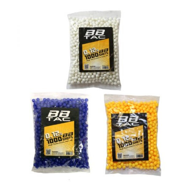 BBTac Airsoft BB 1 BBTac Airsoft BBs .12g Ammo 6mm (3,000 Round Bag, Multi Colors)