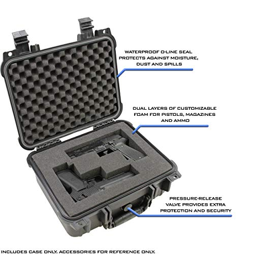 "CASEMATIX  2 CASEMATIX 13"" Two Gun Hard Case for 2 Handguns - Waterproof & Shockproof 2 Pistol Hard Case"
