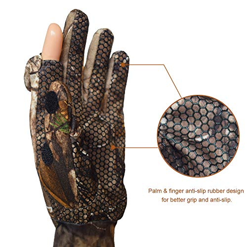 EAmber Airsoft Glove 4 Eamber Camouflage Hunting Gloves Full Finger/Fingerless Gloves Pro Anti-Slip Camo Realtree Glove Archery Accessories Hunting Outdoors (M) (L) (L)