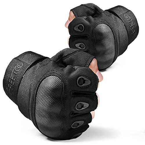 FREETOO Airsoft Glove 7 FREETOO Tactical Gloves for Men Military Airsoft Gloves for Climbing Hunting Hiking Cycling Shooting Rubber Outdoor Touchscreen Gloves (Black Fingerless)