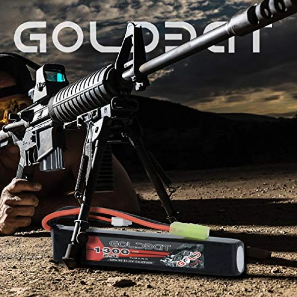 GOLDBAT Airsoft Battery 5 GOLDBAT 1300mAh 3S 11.1V 25C LiPo Battery Short Stick Battery Pack with Mini Tamiya Connector for Airsoft