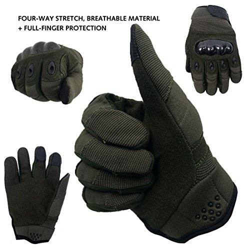 Zephyr Tactical Airsoft Glove 3 Zephyr Tactical Full Finger Carbon Fiber Knuckle Gloves w/Touchscreen Technology
