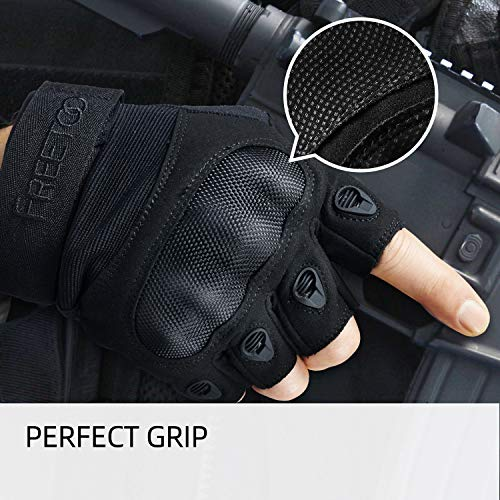 FREETOO Airsoft Glove 3 FREETOO Tactical Gloves for Men Military Airsoft Gloves for Climbing Hunting Hiking Cycling Shooting Rubber Outdoor Touchscreen Gloves (Black Fingerless)