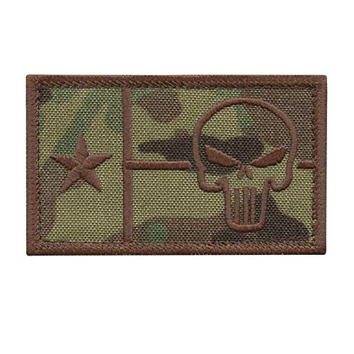 LEGEEON  1 LEGEEON Texas Flag Punisher Multicam OCP Lone Star 2x3.25 Army Morale Tactical Hook&Loop Patch