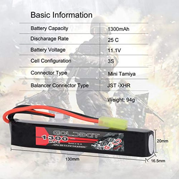 GOLDBAT Airsoft Battery 2 GOLDBAT 1300mAh 3S 11.1V 25C LiPo Battery Short Stick Battery Pack with Mini Tamiya Connector for Airsoft