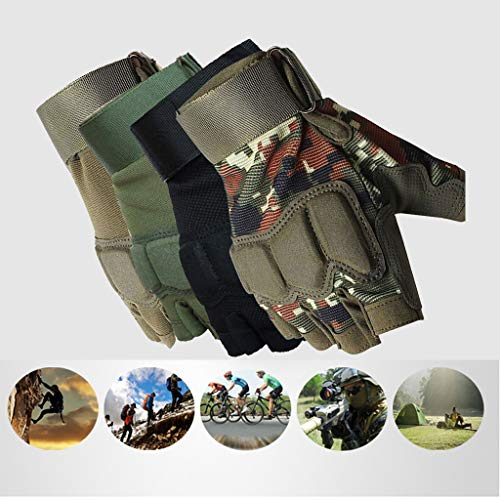 MOORTOR Airsoft Glove 3 Tactical Gloves Half Finger Workout Cycling Gloves for Men Motorcycle Cycling Gloves Sports Reusable Fingerless Breathable Mesh Airsoft Hunting Gloves Fishing Climbing Training Gloves