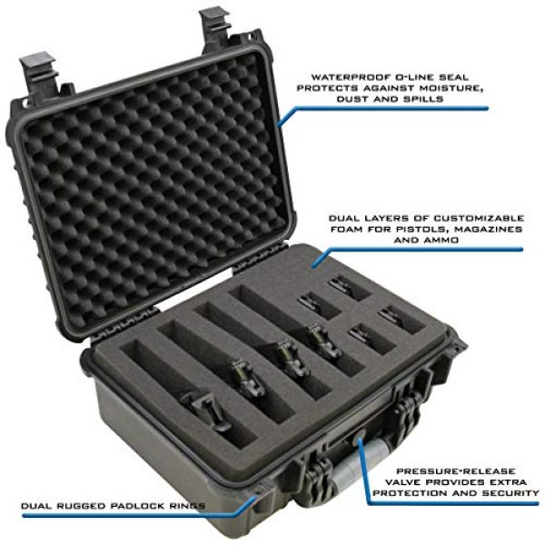 """CASEMATIX Airsoft Gun Case 4 CASEMATIX 16"""" 4 Pistol Multiple Pistol Case - Waterproof & Shockproof Hard Gun Cases for Pistols, Magazines and Accessories - Multi Gun Case for Pistols with Two Layers of 2"""" Thick Customizable Foam"""
