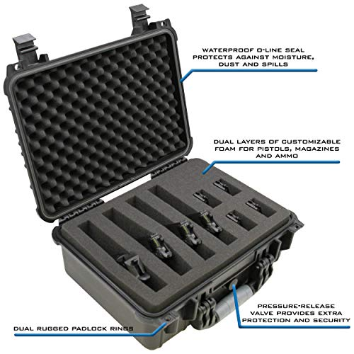 """Magazines and Accessories - Multi Gun Case for Pistols with Two Layers of 2"""" Thick Customizable Foam"""