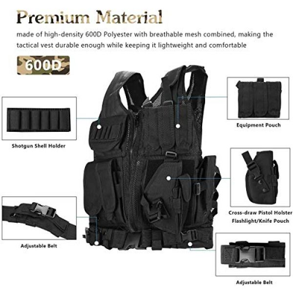 THSKSM Airsoft Tactical Vest 4 THSKSM Tactical Vest Airsoft Paintball Breathable Combat Training Vest for Outdoor Hunting, Fishing, CS War Game,Outdoor Equipment/Adjustable Sizes/Men/Women/600D Assault Gear