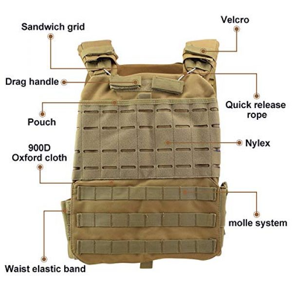 ActionUnion Airsoft Tactical Vest 3 ActionUnion Tactical Vest Molle CS Field Vests Outdoor Adjustable Lightweight Breathable Airsoft Paintball Hunting Shooting Adults 900D Oxford