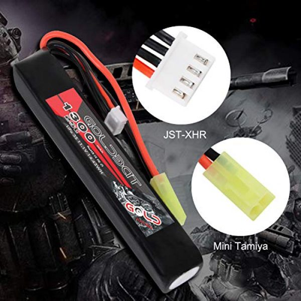 GOLDBAT Airsoft Battery 3 GOLDBAT 1300mAh 3S 11.1V 25C LiPo Battery Short Stick Battery Pack with Mini Tamiya Connector for Airsoft