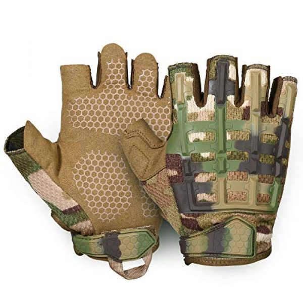 YOSUNPING Airsoft Glove 6 YOSUNPING Tactical Rubber Knuckle Fingerless Gloves Protection for Airsoft Paintball Riding Motorcycle Work