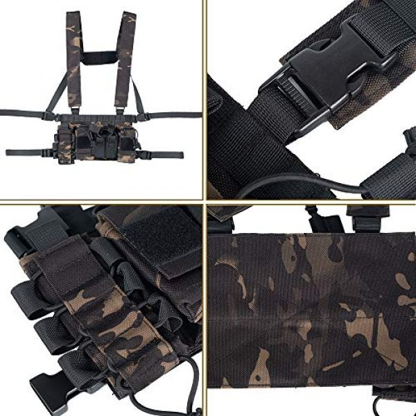 Trdio Airsoft Tactical Vest 3 Trido Chest Rig Tactical Airsoft,Molle Multicum Paintball Rigs Police Pistol Harness Holster Holder Bag Vest for Men Hunting Training