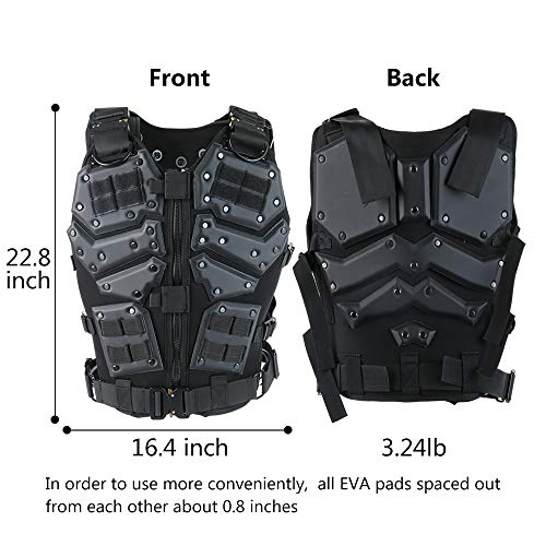 Action Union Airsoft Tactical Vest 2 Action Union Tactical Vest for Men Adults Adjustable Airsoft Paintball Vest Combat Vest Tactical Molle Vest CS Shooting Wargame Outdoor Training
