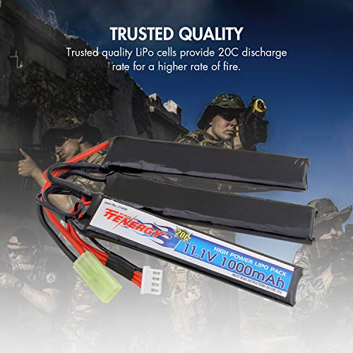 Tenergy Airsoft Battery 3 Tenergy Airsoft Battery 11.1V 1000mAh 20C High Discharge Rate LiPo Battery Pack Split Type Crane Stock Battery Pack with Mini Tamiya Connector + 1-4 Cells LiPo/Life Balance Charger for Airsoft Guns