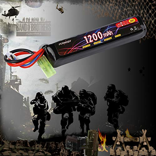 FCONEGY Airsoft Battery 6 FCONEGY 2S/3S 7.4V/11.1V 1200mAh 20C Lipo Battery Pack with Small Tamiya Plug for Airsoft Gun/Rifle