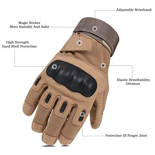 HIKEMAN Airsoft Glove 2 HIKEMAN Army Tactical Gloves Outdoor Full Finger and Half Finger Military Rubber Hard Knuckle Airsoft Paintball Gloves for Motorcycle Cycling Hunting Shooting Hiking Camping