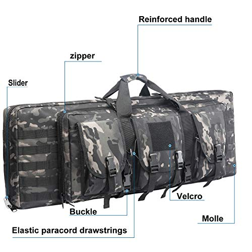 Fox Tactical Airsoft Gun Case 4 Fox Tactical 38 42 Inch Double Long Rifle Gun Case Bag Outdoor Tactical Carbine Cases Water Dust Resistant Fireproof for Hunting Shooting (Black Multicam, 42in)