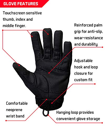 TAC9ER Airsoft Glove 4 TAC9ER Tactical Gloves with Kevlar - Hand Protection Airsoft Gloves Cut and Temperature Resistant with Touchscreen Finger