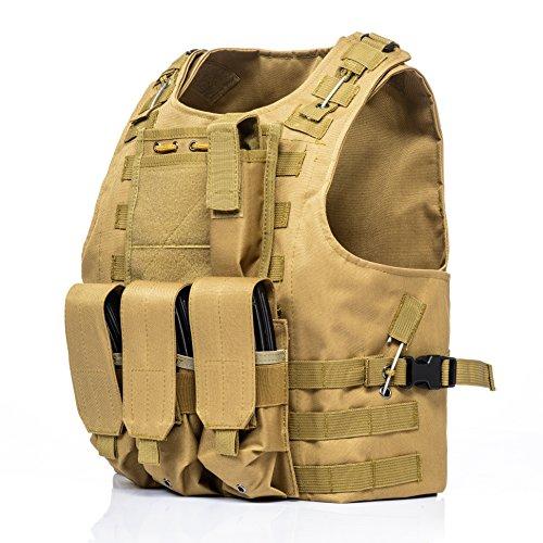 Invenko Airsoft Tactical Vest 3 Invenko Tactical Molle Airsoft Vest Paintball Combat Soft Vest Tan