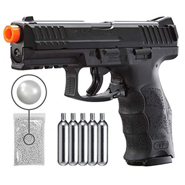 Umarex Airsoft Pistol 1 Umarex H&K VP9 Co2 - BLK Airsoft Pistol with Included 5x12 Gram CO2 Tanks and Wearable4U Pack of 1000 6mm 0.20g BBS Bundle
