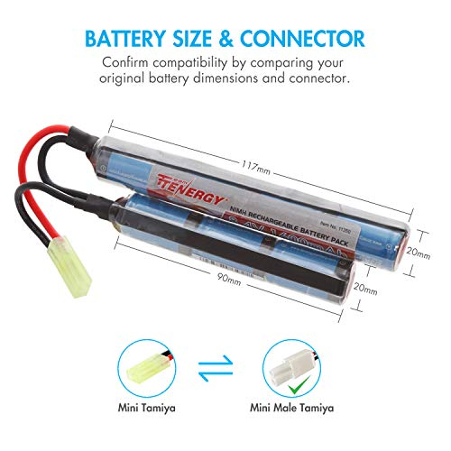 Tenergy Airsoft Battery 3 Tenergy 8.4V Airsoft Battery 1600mAh NiMH Nunchuck Battery w/Mini Tamiya Connector High Discharge Rate Stick Shape Butterfly Battery for Airsoft Gun M4 Rifles