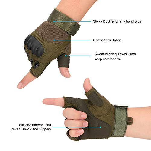 Huade Airsoft Glove 6 Tactical Military Rubber Hard Knuckle Outdoor Fingerless Gloves for Camping Cycling Motorcycle Hiking Powersports Airsoft Paintball