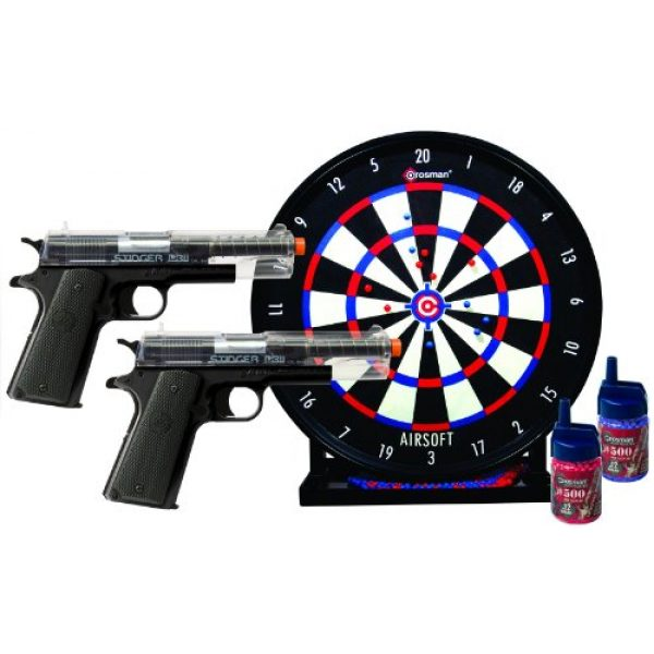 Game Face Airsoft Pistol 1 GameFace ASP311CDK Spring-Powered Single-Shot Airsoft Pistol Kit With 2 Pistols, Target And BBs, Clear/Black