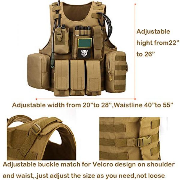 outdoor plus Airsoft Tactical Vest 5 Tactical Molle Vest Light-Weight Breathable Black Airsoft Vest with Adjustable Pouches for Adult and Youth
