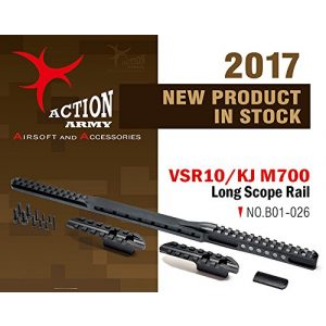Action Army Airsoft Tool 1 Action Army B01-026 VSR10/M700 Long Scope Rail - Aluminum CNC for Tokyo Marui VSR10 /Well MB02/KJ M700 (Taiwan)