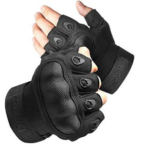 FREETOO Airsoft Glove 1 FREETOO Tactical Gloves for Men Military Airsoft Gloves for Climbing Hunting Hiking Cycling Shooting Rubber Outdoor Touchscreen Gloves (Black Fingerless)