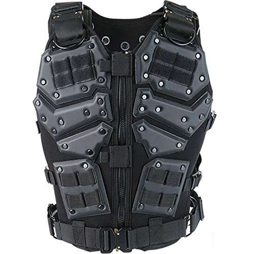 ActionUnion  1 ActionUnion Airsoft Tactical Vest Military Costume Molle Chest Protectors Gilet Paintball Vest CS Field Outdoor Modular Combat Training Adults Men Special Forces Adjustable EVA