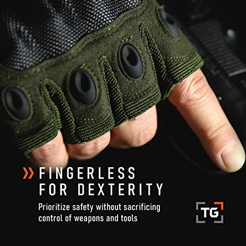 TG Airsoft Glove 6 TG Hellfox Fingerless Tactical Gloves for Men Hard Knuckle for Military Police Combat Motorcycle Outdoors Camping Cycling Paintball